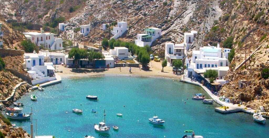 What is the small Greek island with the 235 churches1