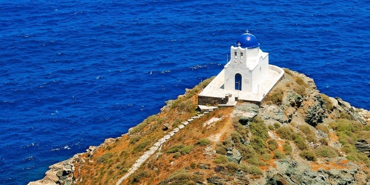 What is the small Greek island with 235 churches