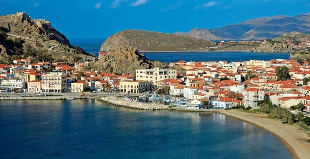 The Greek island that has elements from three continents