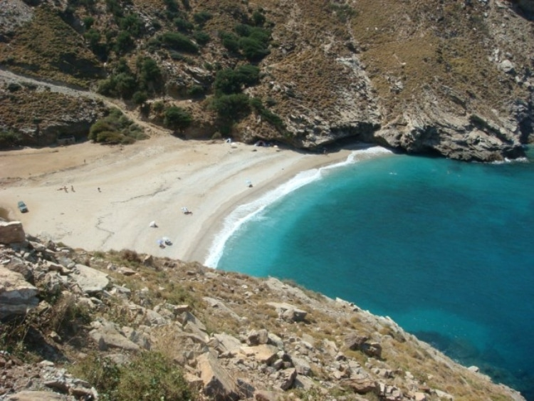 The unknown and exotic beach with the pond in Euboea