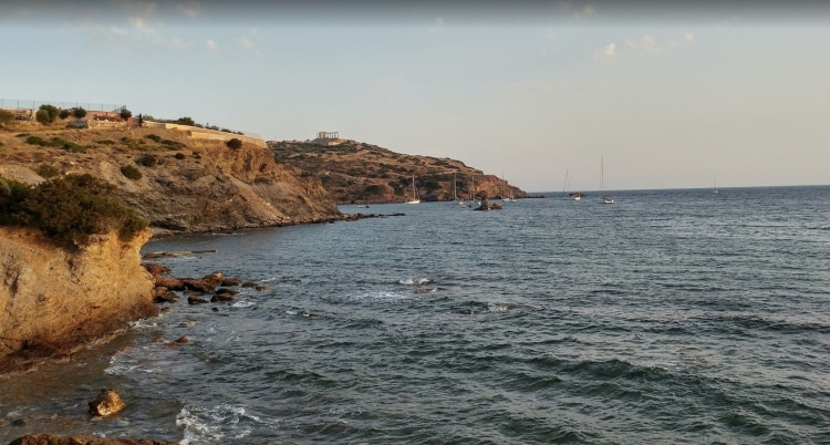 Agios Petros: The beach you go swimming that is overlooking the Temple of Poseidon